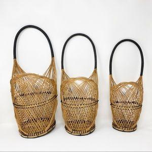 Vintage Wicker Nesting Baskets - Set of 3